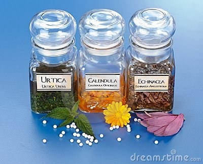 Plant extract in bottles and homeopathic granules