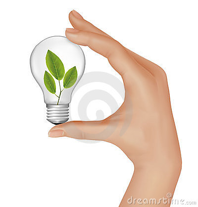 Plant inside light bulb in hand. Vector