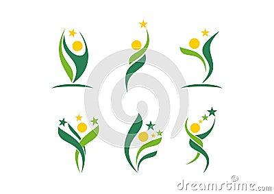 people, wellness, celebration, logo, health, ecology healthy symbol icon set design vector.