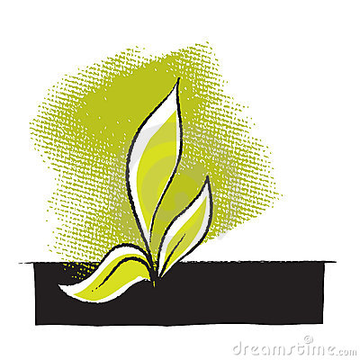 Plant seedling icon, freehand drawing