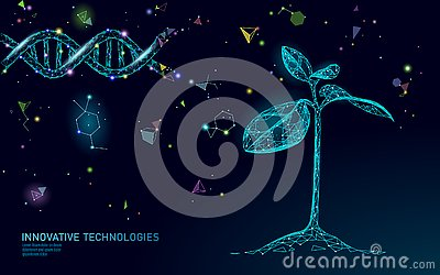 Plant sprout biotechnology abstract concept. 3D render seedling tree leaves DNA genome engineering vitamin supplement Vector Illustration