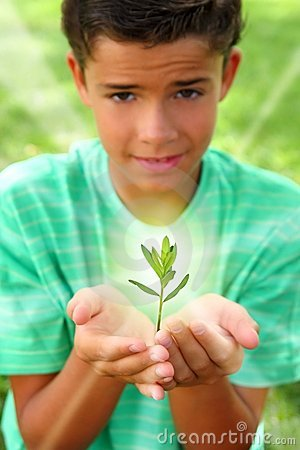 Plant sprout growing glow light teenager boy hands