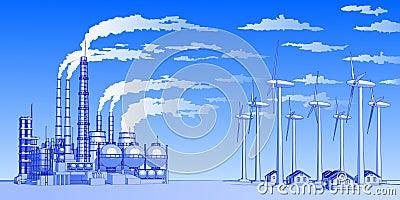 Plant, windmills & houses