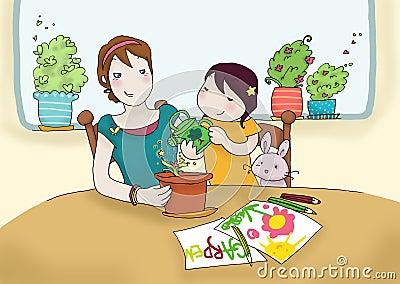 Planta molhando junto