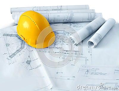 Plantas da construção e chapéu duro