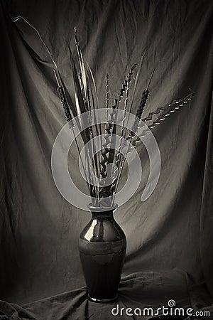 Plantas secadas en florero