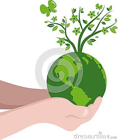 Planting  tree globe eco concept