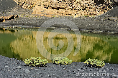 Coast of Green Lagoon in volcanic landscape, El Golfo, Lanzarote