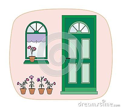 Plants and green door