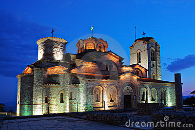 Plaosnik church in Ohrid at nighttime