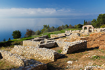 Plaosnik Ruins on Ohrid Lake, Macedonia