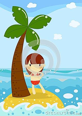 Plażowej dziewczyny mała palma