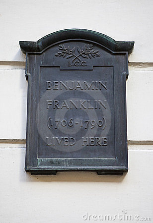Plaque on Benjamin Franklin House in London Editorial Image