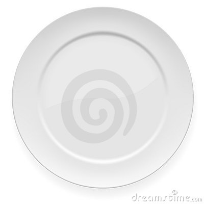 Plaque de dîner blanche vide