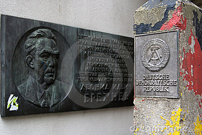 Plaque Leonid Brezhnev and frontier post of DDR Editorial Photography