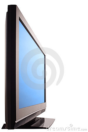 Plasma HDTV screen, side view, isolated.