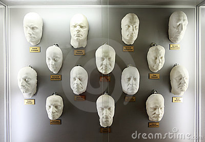 Plaster casts of faces popular Russian actors Editorial Stock Photo