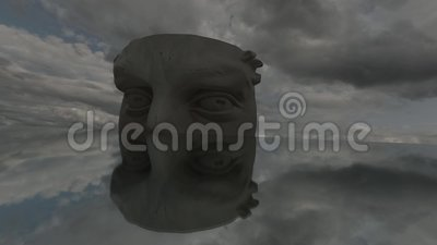 Plaster Head Fragment With Two Eyes For Drawing On Mirror In Space