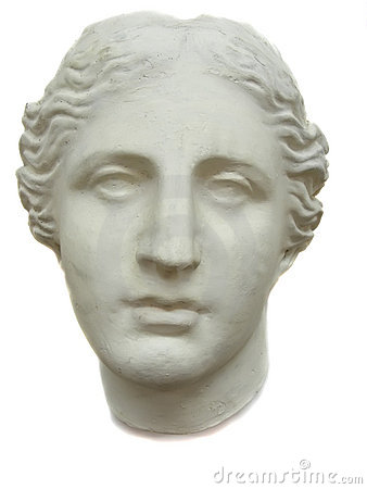 Plaster head of the woman