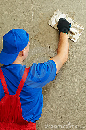 Free Plasterer At Work Stock Image - 21939481