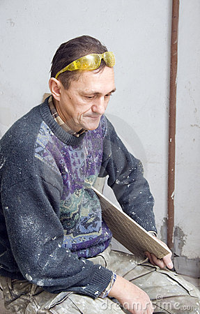 Plasterer taking a break