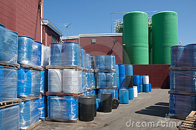 Plastic barrels used to ship chemicals