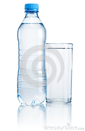Free Plastic Bottle And Glass Of Drinking Water Isolated On White Bac Stock Photo - 32681100