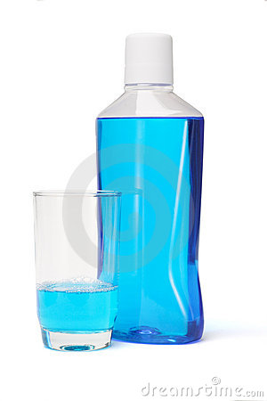 Free Plastic Bottle And Glass Of Mouthwash Stock Photography - 17408132