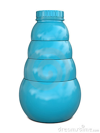 Plastic bottle blue with blue cap
