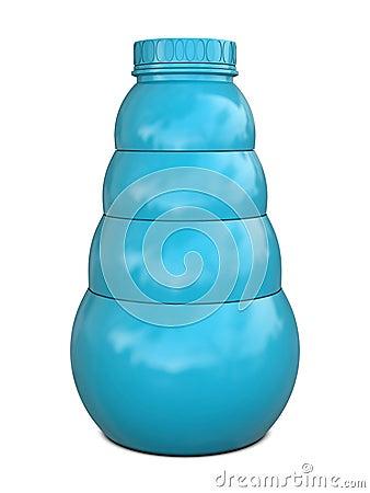 Plastic bottle blue with blue cap