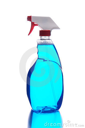 Plastic bottle of blue cleaning liquid