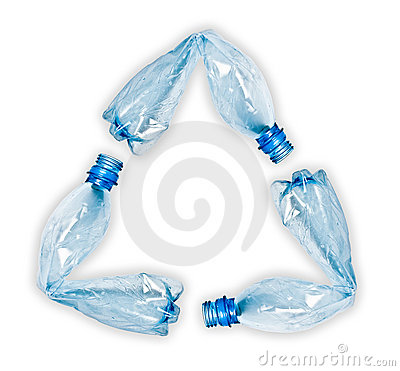 Plastic bottles making up recycle symbol