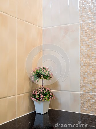 Free Plastic Bouquet In A Vase Decorate The Wall Corner In The Shower Royalty Free Stock Images - 143231649