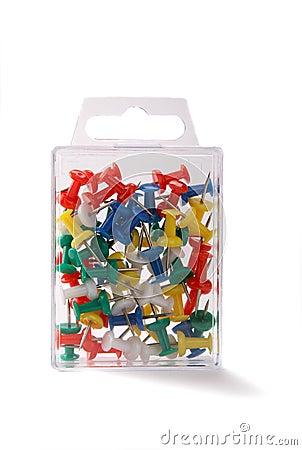 Plastic box with push pin