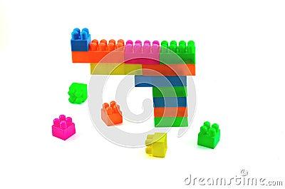 Plastic building blocks isolated