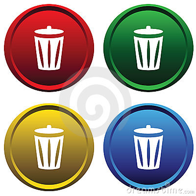 Plastic buttons with recycle bin