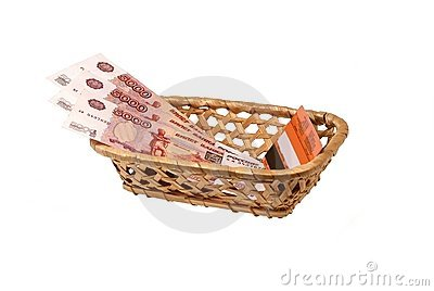 Plastic card and money in a wattled bast basket