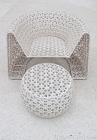 Plastic chair and table weave