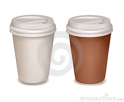 Plastic coffee cups. Vector.