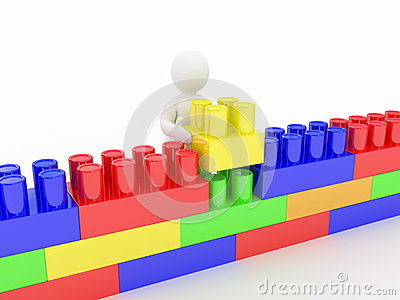 Plastic construction and man on white background