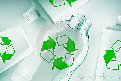 Plastic containers with recycle symbol