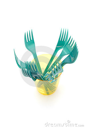 Plastic cup with fork