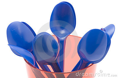 Plastic cup with spoon