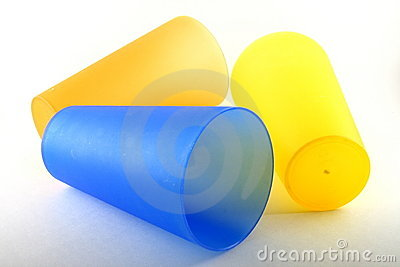 Yellow and blue plastic cups