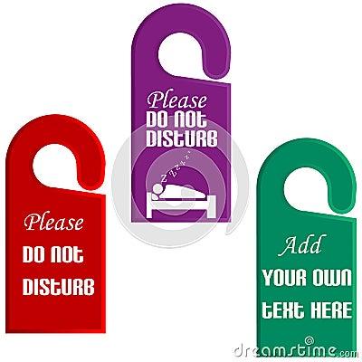 Plastic door hangers with do not disturb sign
