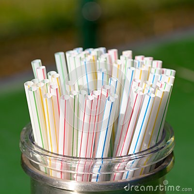 Free Plastic Drinks Straws In Container In Cafe Stock Photo - 116248800