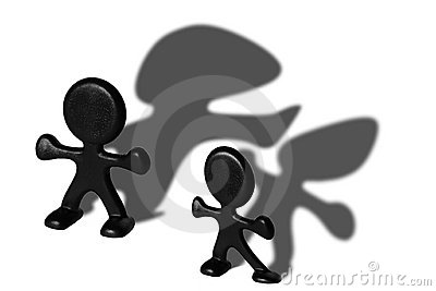 Plastic figurines with shadows
