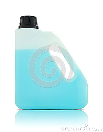 Plastic gallon with blue liquid
