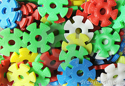 Plastic gear wheels of different colors