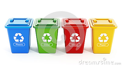 Plastic, glass, metal and paper recycle bins Stock Photo